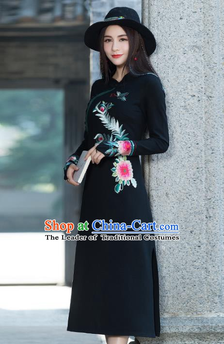 Traditional Chinese National Costume Hanfu Embroidered Peony Black Qipao, China Tang Suit Cheongsam Dress for Women