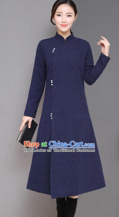 Traditional Chinese National Costume Hanfu Plated Buttons Navy Qipao Dress, China Tang Suit Cheongsam for Women
