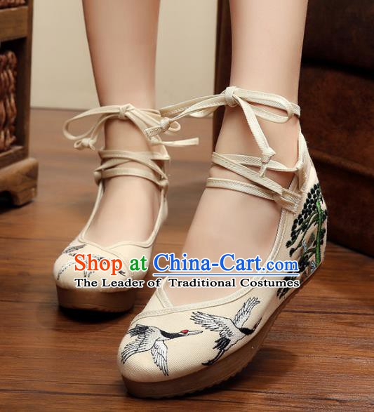 Asian Chinese Embroidered Crane Shoes, Traditional China Princess Shoes Hanfu Embroidery Shoes for Women