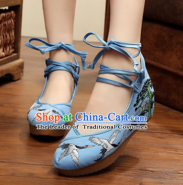 Asian Chinese Blue Embroidered Crane Shoes, Traditional China Princess Shoes Hanfu Embroidery Shoes for Women