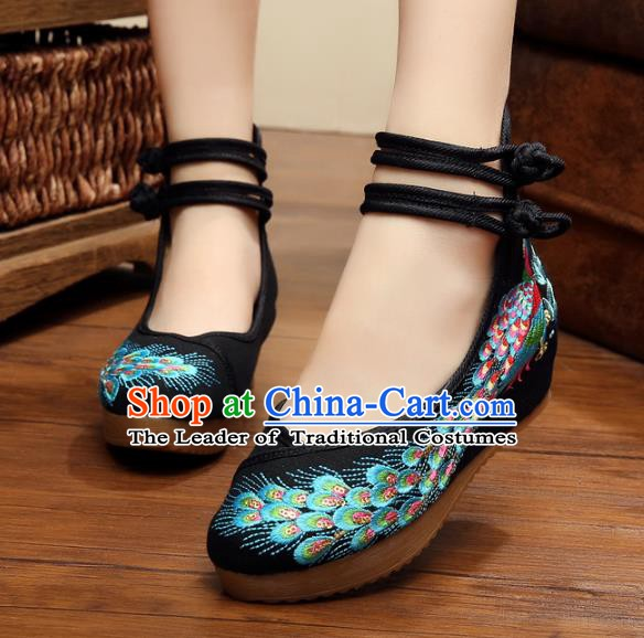Asian Chinese National Black Embroidered Peacock Shoes, Traditional China Princess Shoes Hanfu Embroidery Shoes for Women