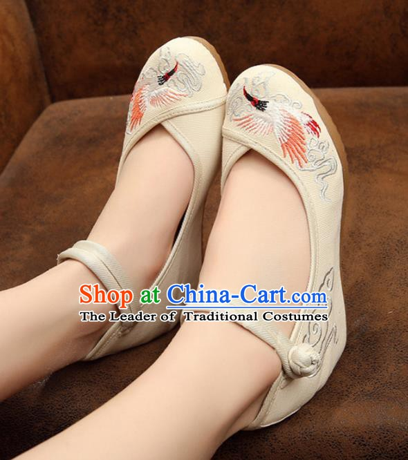 Asian Chinese National White Embroidered Shoes, Traditional China Princess Shoes Hanfu Embroidery Crane Shoes for Women