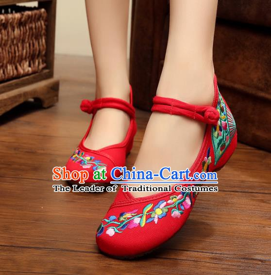 Asian Chinese National Red Canvas Embroidered Shoes, Traditional China Princess Shoes Hanfu Embroidery Shoes for Women