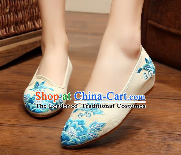 Traditional Chinese National Embroidered Shoes, China Princess Shoes Hanfu Embroidery Peony White Shoes for Women