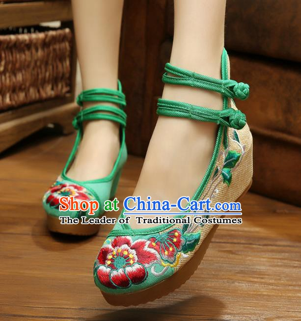 Traditional Chinese National Green Linen Embroidered Peony Shoes, China Princess Shoes Hanfu Embroidery Shoes for Women