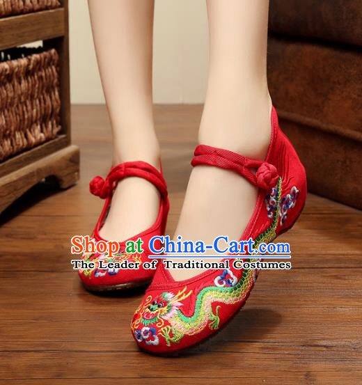 Traditional Chinese National Red Satin Embroidered Lotus Shoes, China Princess Shoes Hanfu Embroidery Dragons Shoes for Women