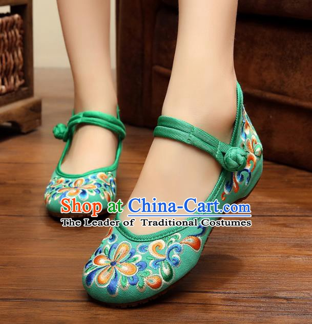 Traditional Chinese National Green Embroidered Shoes, China Princess Shoes Hanfu Embroidery Shoes for Women