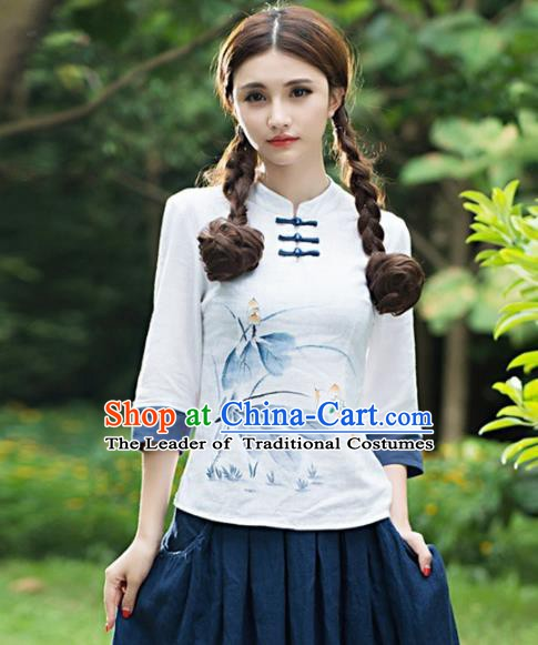 Traditional Chinese National Costume Hanfu Paiting Lotus White Blouse, China Tang Suit Cheongsam Upper Outer Garment Shirt for Women