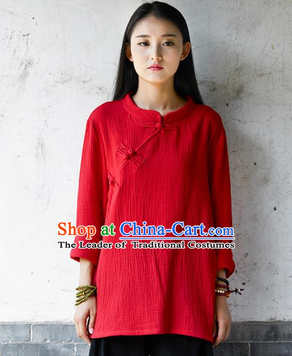 Traditional Chinese National Costume Hanfu Red Linen Blouse, China Tang Suit Cheongsam Upper Outer Garment Shirt for Women