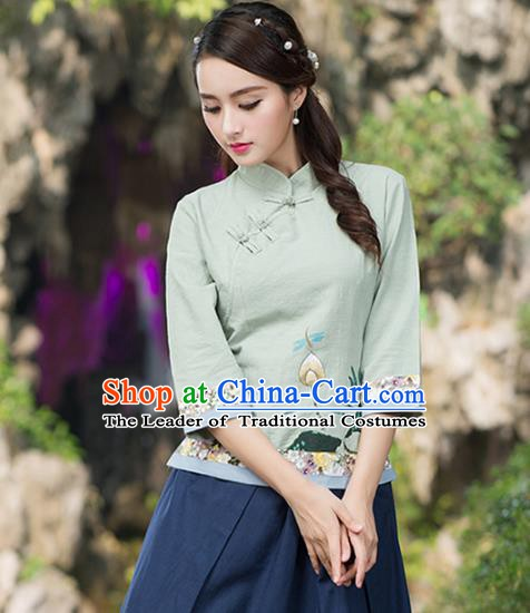 Traditional Chinese National Costume Hanfu Painting Lotus Green Blouse, China Tang Suit Cheongsam Upper Outer Garment Shirt for Women