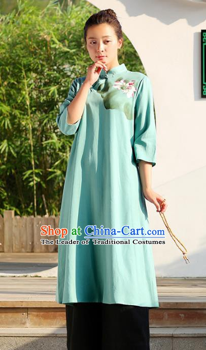Traditional Chinese National Costume Hanfu Painting Lotus Green Qipao Dress, China Tang Suit Cheongsam for Women