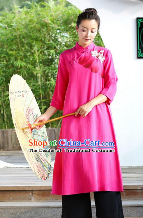 Traditional Chinese National Costume Hanfu Painting Lotus Rosy Qipao Dress, China Tang Suit Cheongsam for Women