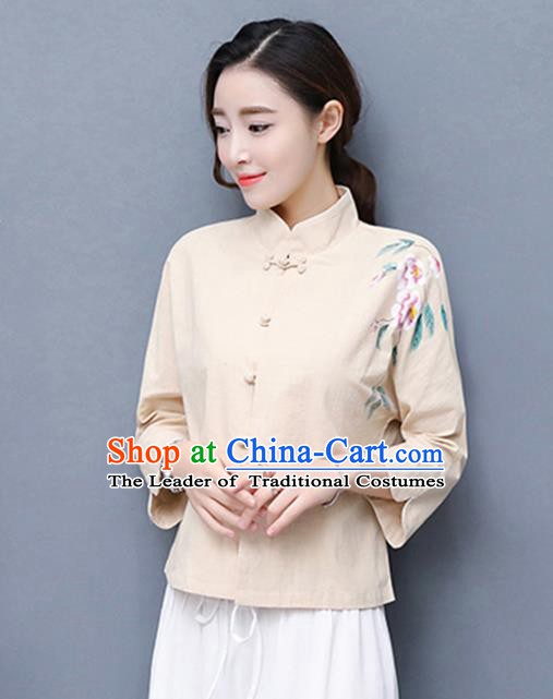 Traditional Chinese National Costume Hanfu Plated Buttons Qipao Blouse, China Tang Suit Cheongsam Upper Outer Garment Shirt for Women