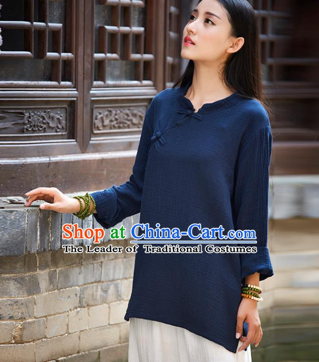 Traditional Chinese National Costume Hanfu Linen Navy Blouse, China Tang Suit Cheongsam Upper Outer Garment Shirt for Women