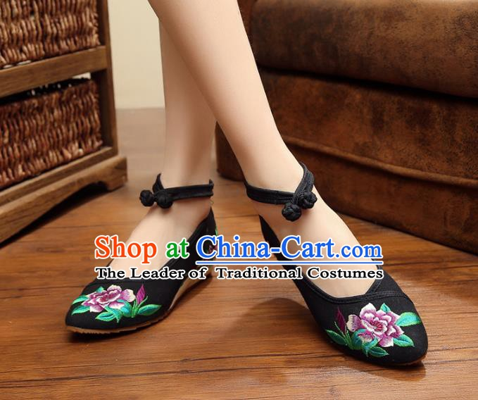 Traditional Chinese National Hanfu Shoes Black Embroidered Shoes, China Princess Shoes Embroidery Flowers Shoes for Women