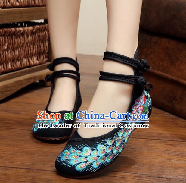Traditional Chinese National Hanfu Thin Shoes Black Embroidered Shoes, China Princess Embroidery Peacock Shoes for Women