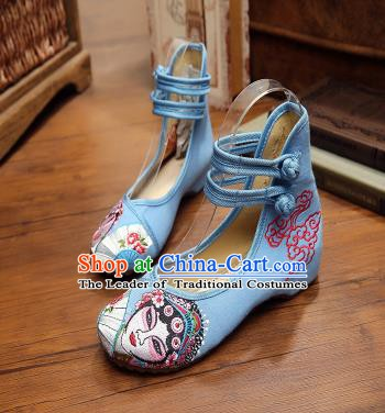 Traditional Chinese National Hanfu Shoes Blue Canvas Embroidered Shoes, China Princess Embroidery Shoes for Women