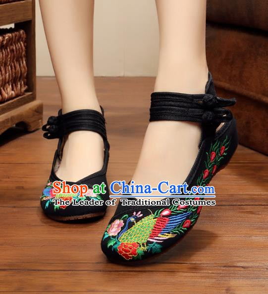 Traditional Chinese National Black Embroidered Shoes, China Princess Embroidery Phoenix Peony Shoes for Women