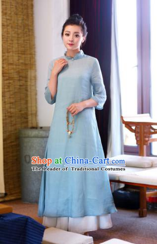 Traditional Chinese National Costume Hanfu Linen Qipao Dress, China Tang Suit Cheongsam for Women