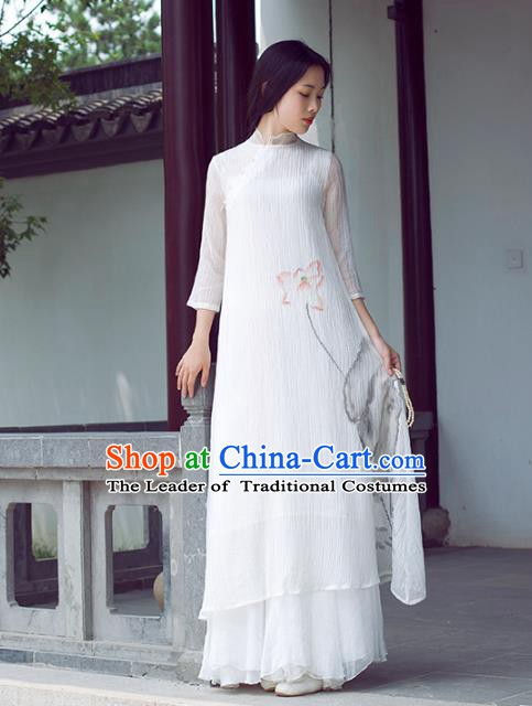 Traditional Chinese National Costume Hanfu Ink Painting Lotus White Qipao Dress, China Tang Suit Cheongsam for Women