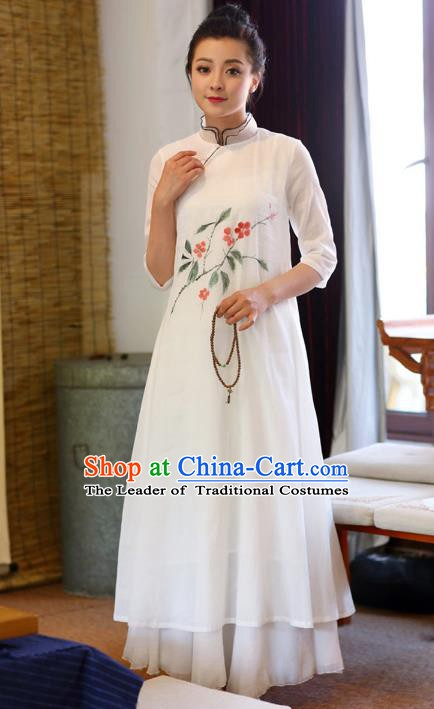 Traditional Chinese National Costume Hanfu Painting Flowers White Linen Qipao Dress, China Tang Suit Cheongsam for Women