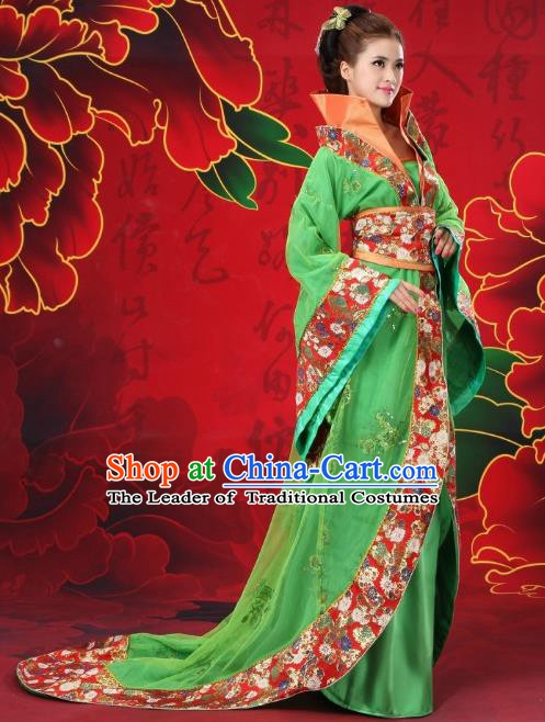 Traditional Chinese Ancient Imperial Consort Costume, China Tang Dynasty Palace Lady Embroidered Trailing Clothing for Women