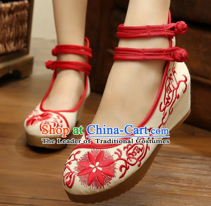 Traditional Chinese National Hanfu Linen Embroidered Shoes, China Princess Shoes Embroidery Red Shoes for Women