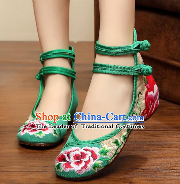 Traditional Chinese National Hanfu Linen Embroidered Peony Shoes, China Princess Shoes Embroidery Green Shoes for Women