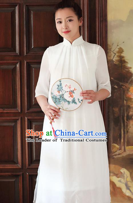 Traditional Chinese National Costume Hanfu White Stand Collar Qipao Dress, China Tang Suit Cheongsam for Women