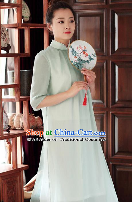 Traditional Chinese National Costume Hanfu Green Stand Collar Qipao Dress, China Tang Suit Cheongsam for Women