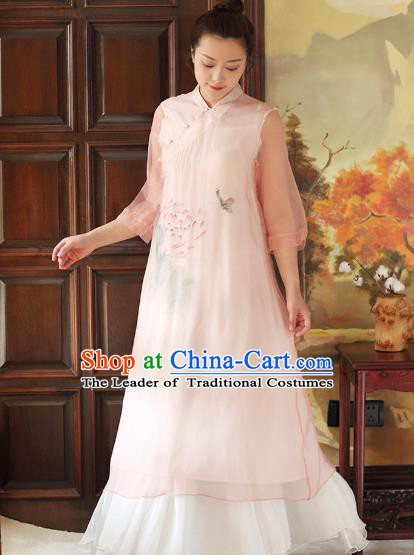 Traditional Chinese National Costume Hanfu Ink Painting Lotus Pink Qipao Dress, China Tang Suit Cheongsam for Women