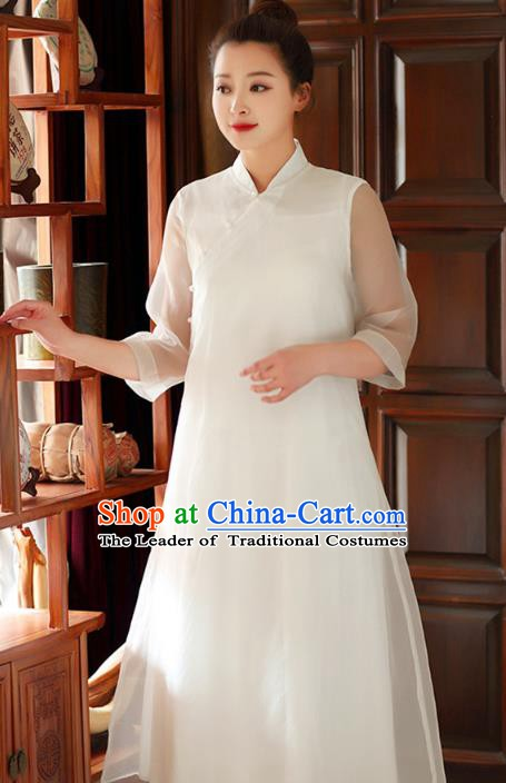 Traditional Chinese National Costume Hanfu Slant Opening White Qipao Dress, China Tang Suit Cheongsam for Women