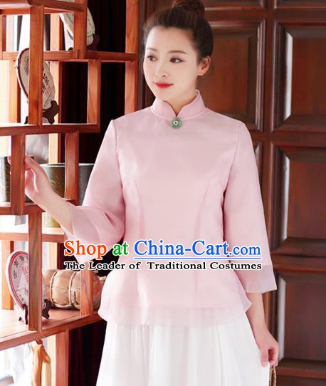 Traditional Chinese National Costume Hanfu Pink Qipao Blouse, China Tang Suit Cheongsam Upper Outer Garment Shirt for Women