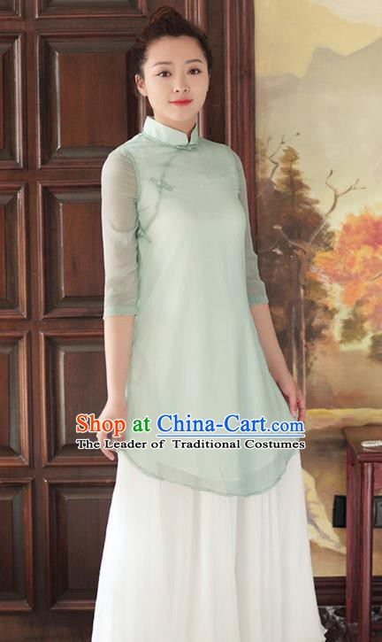Traditional Chinese National Costume Hanfu Green Qipao Dress, China Tang Suit Cheongsam for Women