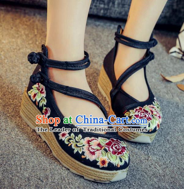 Traditional Chinese National Hanfu Black Linen Embroidered Shoes, China Princess Embroidery Peony Shoes for Women