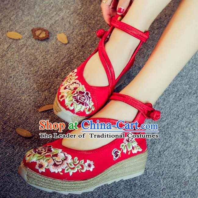 Traditional Chinese National Hanfu Red Linen Embroidered Shoes, China Princess Embroidery Peony Shoes for Women