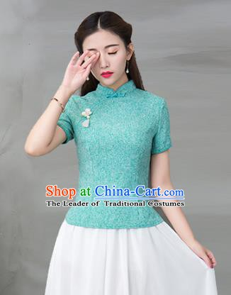 Traditional Chinese National Costume Hanfu Green Qipao Blouse, China Tang Suit Cheongsam Upper Outer Garment Shirt for Women