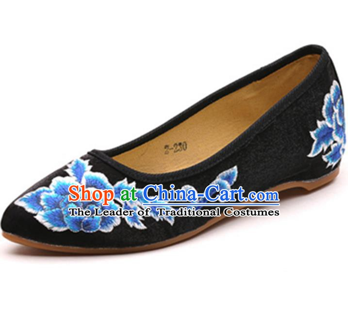 Traditional Chinese National Hanfu Embroidered Shoes, China Princess Embroidery Peony Black Shoes for Women