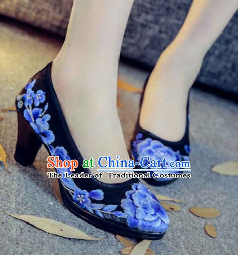 Traditional Chinese National Hanfu Black Embroidered Shoes, China Princess Embroidery Peony High-heeled Shoes for Women