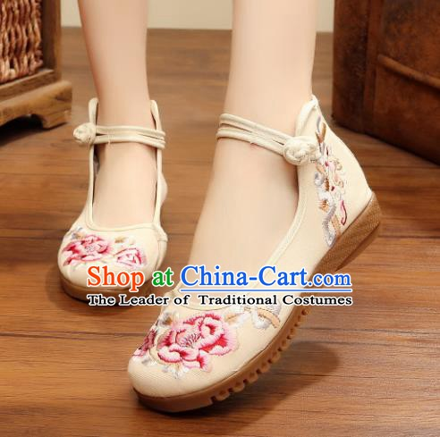Traditional Chinese National Hanfu Linen Embroidered Shoes, China Princess Embroidery Peony White Shoes for Women