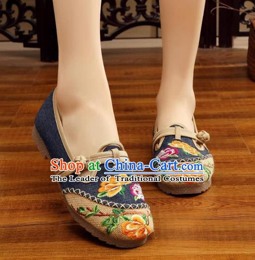Traditional Chinese National Hanfu Embroidery Peony Linen Shoes, China Princess Navy Embroidered Shoes for Women