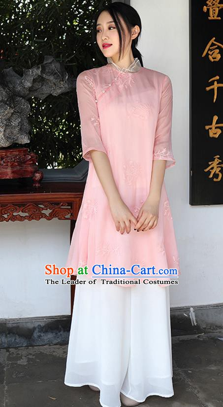 Traditional Chinese National Costume Hanfu Pink Embroidered Qipao Dress, China Tang Suit Cheongsam for Women