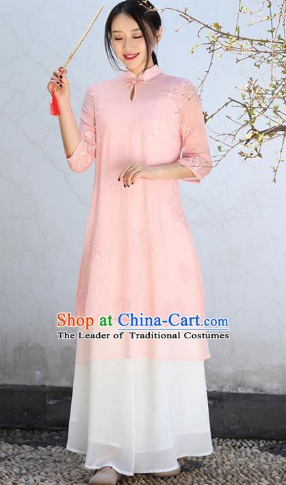 Traditional Chinese National Costume Hanfu Pink Qipao Dress, China Tang Suit Embroidered Cheongsam for Women