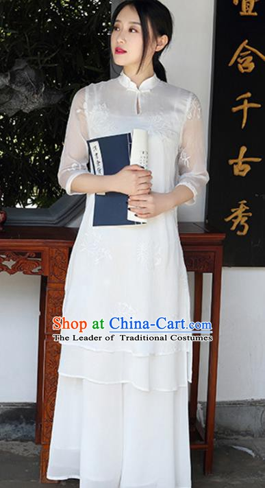 Traditional Chinese National Costume Hanfu White Qipao Dress, China Tang Suit Embroidered Cheongsam for Women