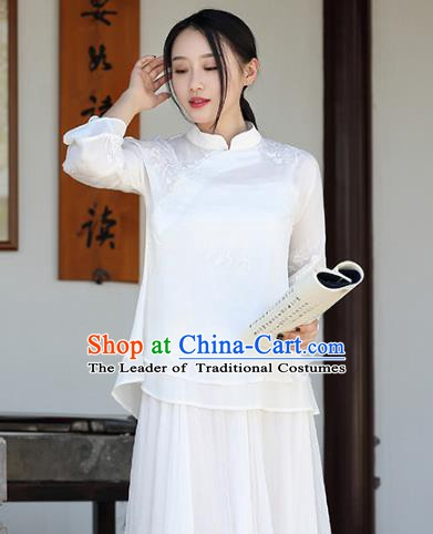Traditional Chinese National Costume Hanfu White Embroidery Qipao Blouse, China Tang Suit Cheongsam Upper Outer Garment Shirt for Women