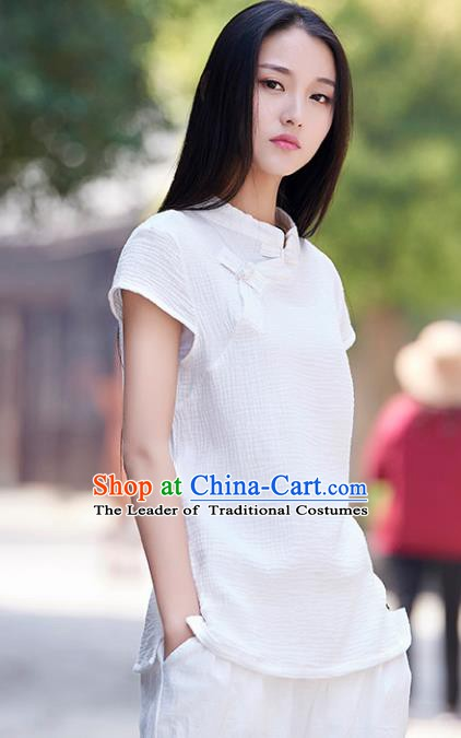 Traditional Chinese National Costume Hanfu White Qipao Blouse, China Tang Suit Cheongsam Upper Outer Garment Shirt for Women