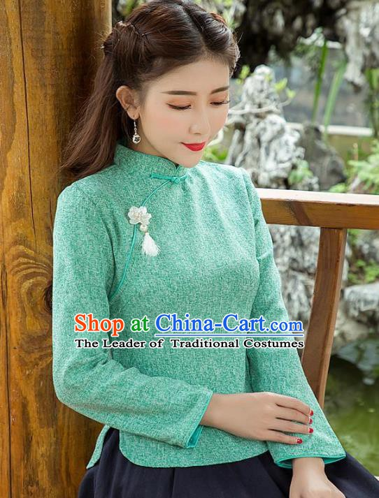 Traditional Chinese National Costume Hanfu Slant Opening Cheongsam Blouse, China Tang Suit Upper Outer Garment Shirt for Women