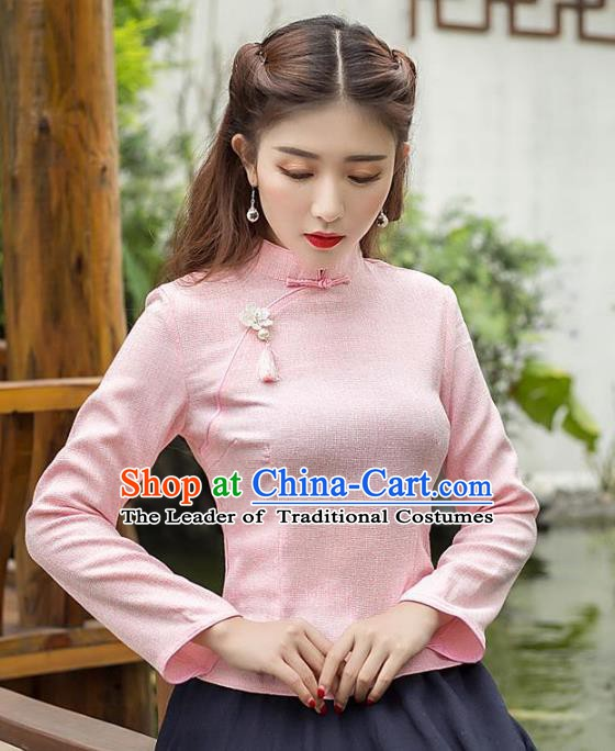 Traditional Chinese National Costume Hanfu Slant Opening Pink Cheongsam Blouse, China Tang Suit Upper Outer Garment Shirt for Women