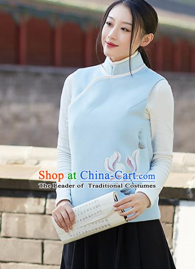 Traditional Chinese National Costume Hanfu Printing Lotus Cheongsam Vests, China Tang Suit Waistcoat for Women