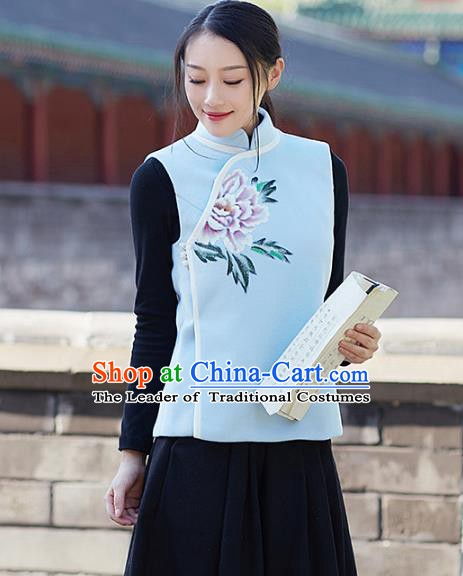 Traditional Chinese National Costume Hanfu Printing Peony Cheongsam Vests, China Tang Suit Waistcoat for Women